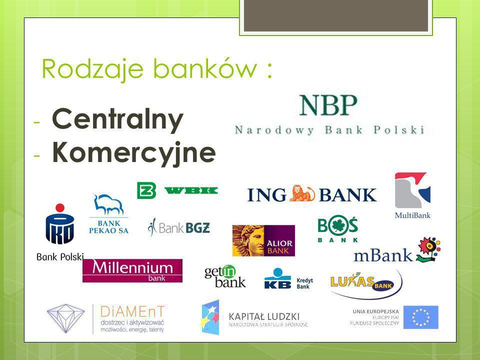 Rodzaje banków : - Centralny - Komercyjne