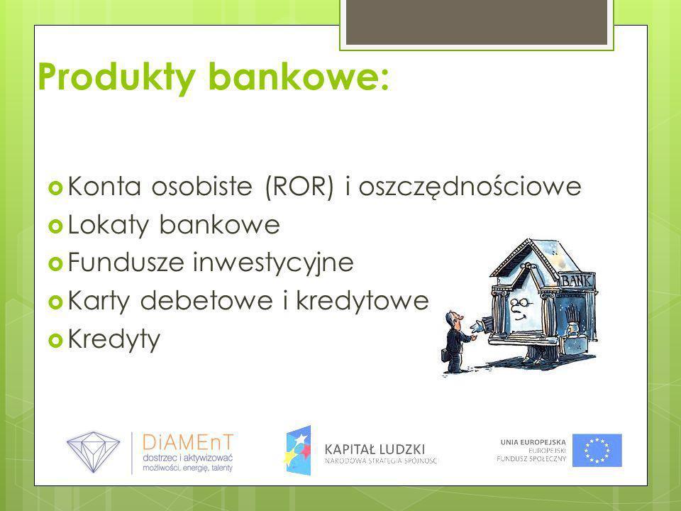 Produkty bankowe: Konta osobiste (ROR) i oszczędnościowe Lokaty bankowe Fundusze inwestycyjne Karty debetowe i kredytowe Kredyty