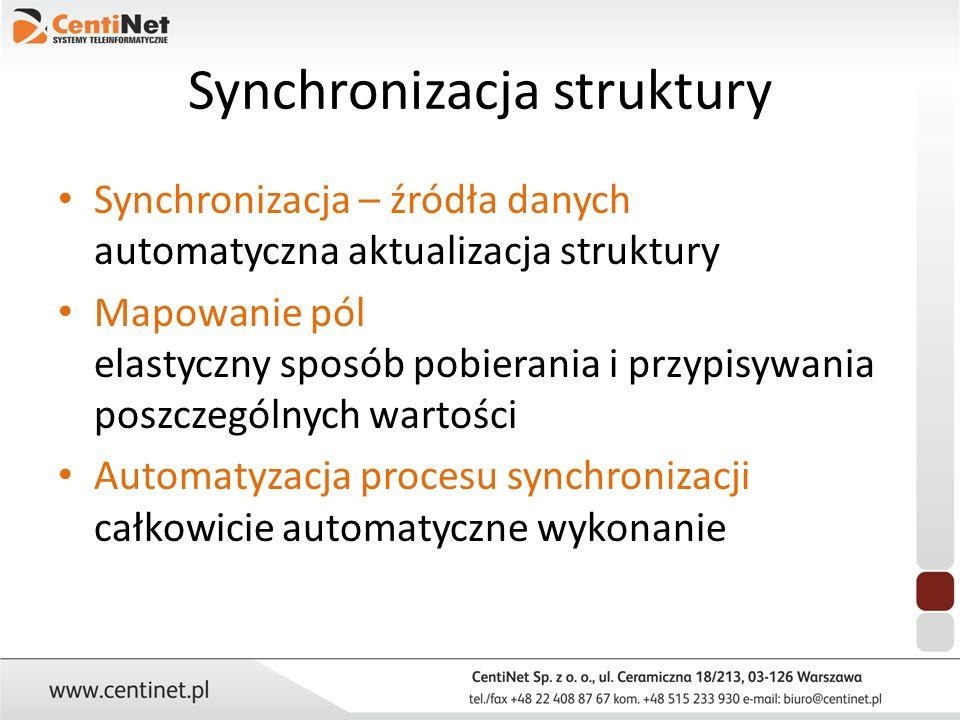 Synchronizacja struktury Synchronizacja – źródła danych automatyczna aktualizacja struktury Mapowanie pól elastyczny sposób pobierania i przypisywania