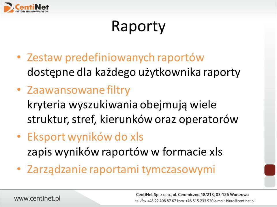 Raporty Zestaw predefiniowanych raportów dostępne dla każdego użytkownika raporty Zaawansowane filtry kryteria wyszukiwania obejmują wiele struktur, s