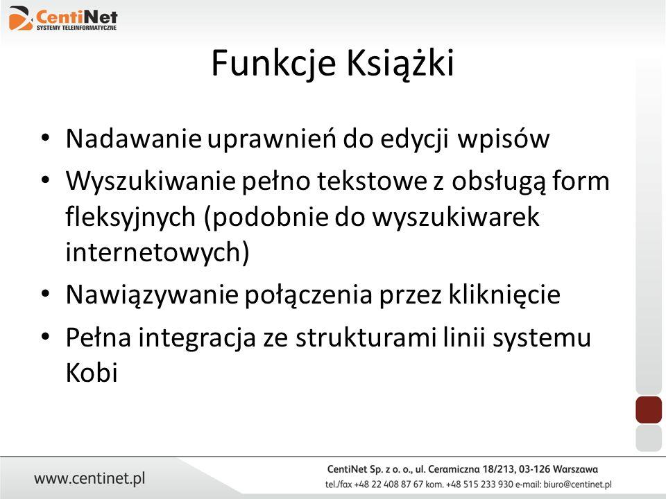 Funkcje Książki Nadawanie uprawnień do edycji wpisów Wyszukiwanie pełno tekstowe z obsługą form fleksyjnych (podobnie do wyszukiwarek internetowych) N