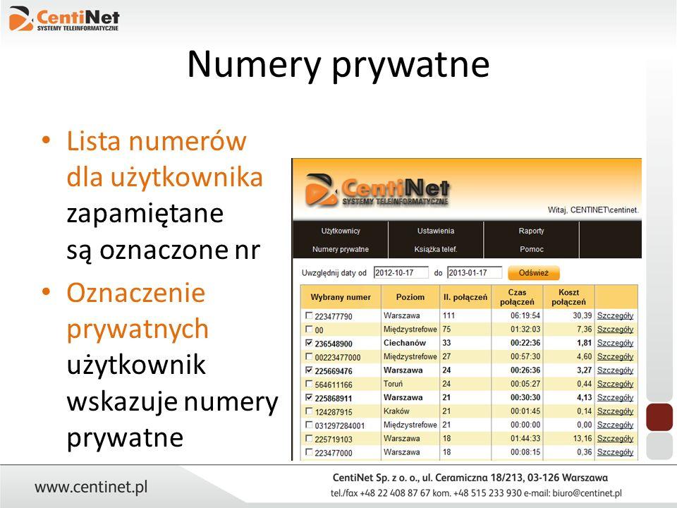 Numery prywatne Lista numerów dla użytkownika zapamiętane są oznaczone nr Oznaczenie prywatnych użytkownik wskazuje numery prywatne