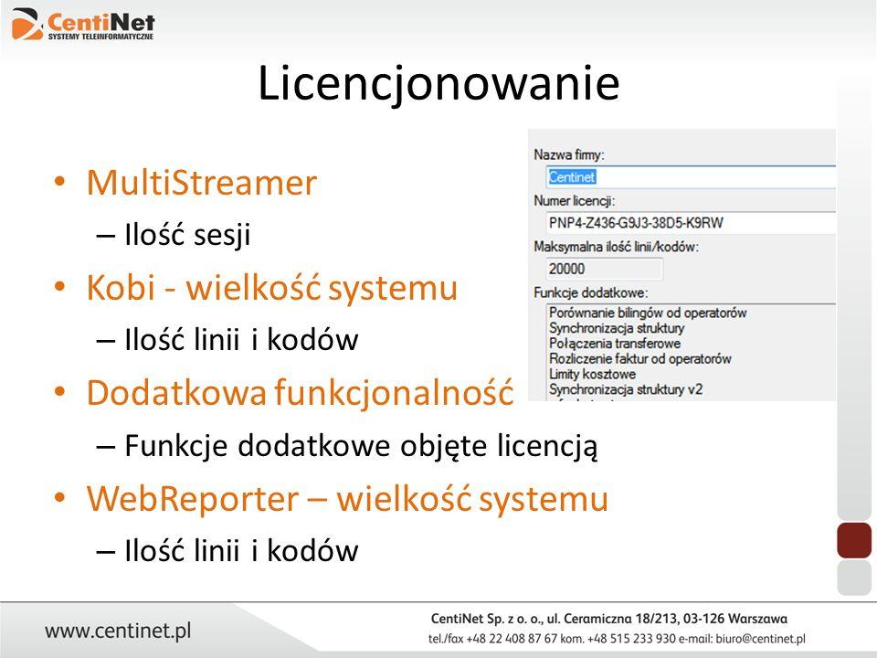 Licencjonowanie MultiStreamer – Ilość sesji Kobi - wielkość systemu – Ilość linii i kodów Dodatkowa funkcjonalność – Funkcje dodatkowe objęte licencją