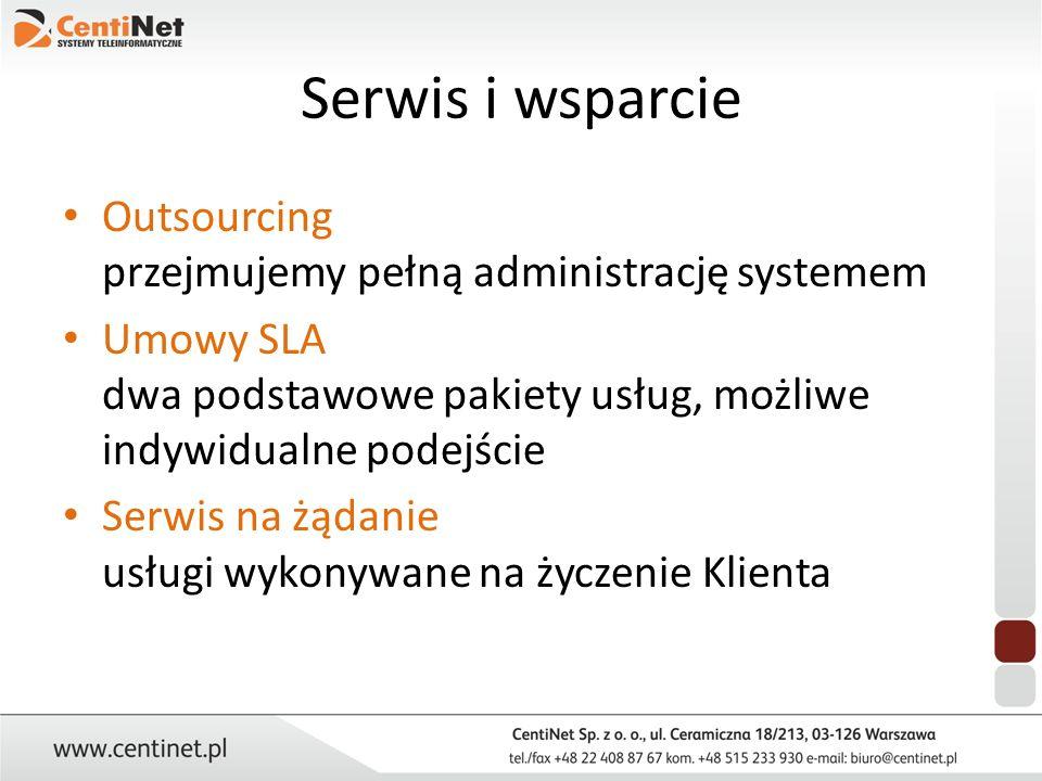 Serwis i wsparcie Outsourcing przejmujemy pełną administrację systemem Umowy SLA dwa podstawowe pakiety usług, możliwe indywidualne podejście Serwis n