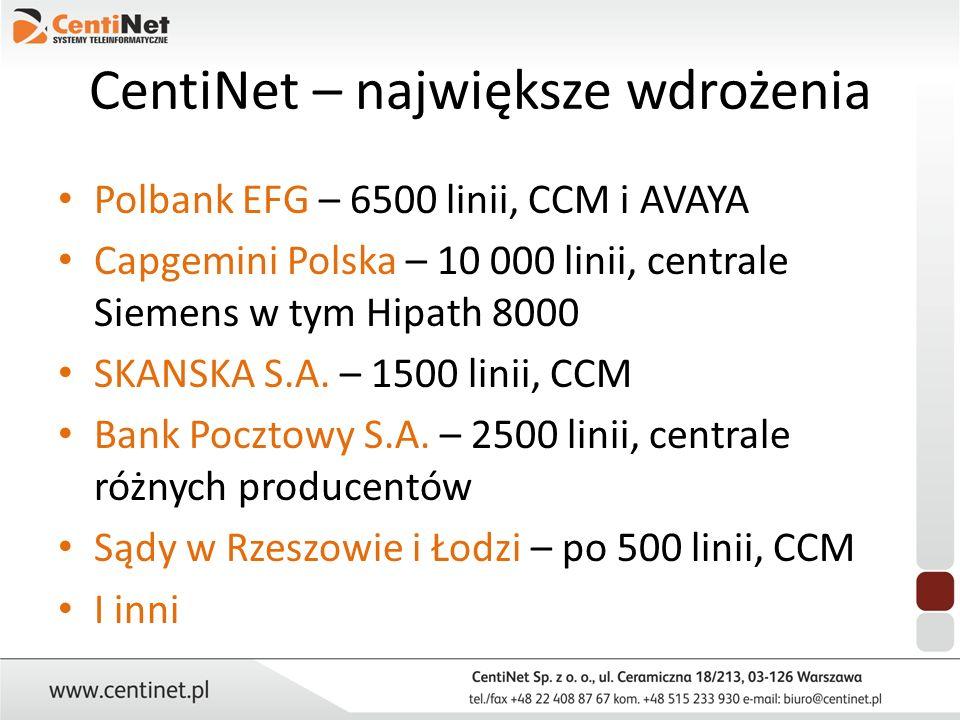 CentiNet – największe wdrożenia Polbank EFG – 6500 linii, CCM i AVAYA Capgemini Polska – 10 000 linii, centrale Siemens w tym Hipath 8000 SKANSKA S.A.