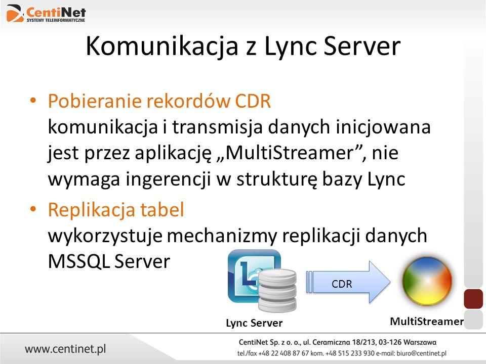 Komunikacja z Lync Server Pobieranie rekordów CDR komunikacja i transmisja danych inicjowana jest przez aplikację MultiStreamer, nie wymaga ingerencji