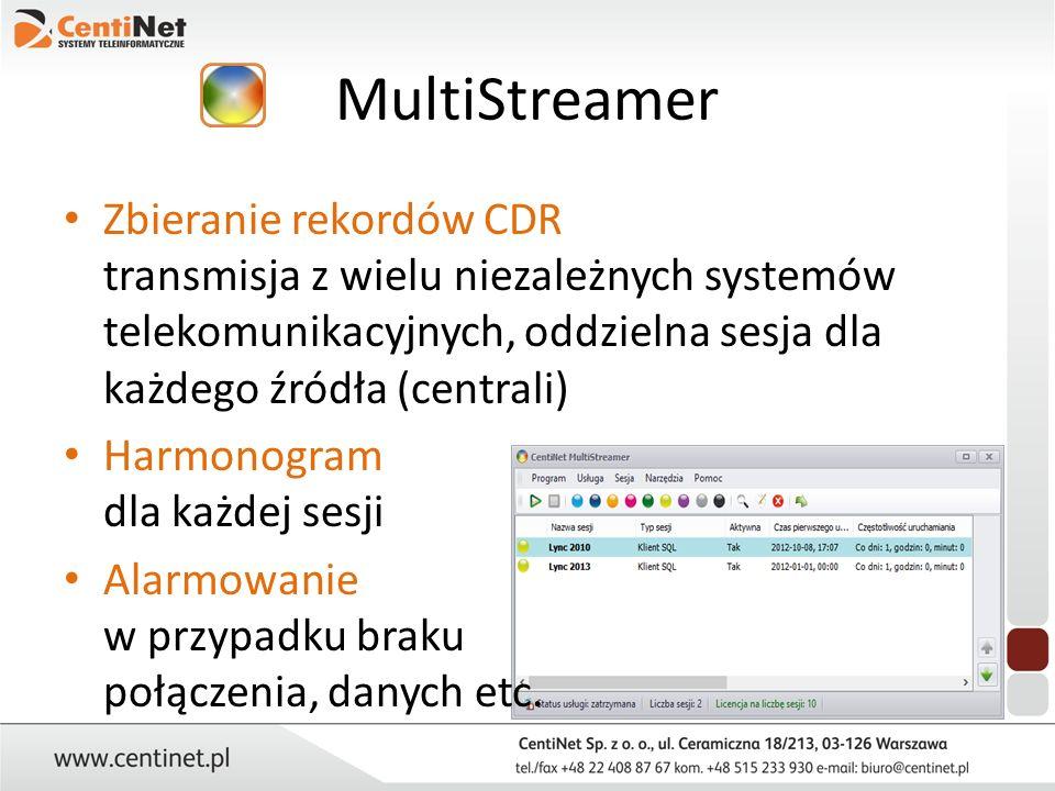 MultiStreamer Zbieranie rekordów CDR transmisja z wielu niezależnych systemów telekomunikacyjnych, oddzielna sesja dla każdego źródła (centrali) Harmo