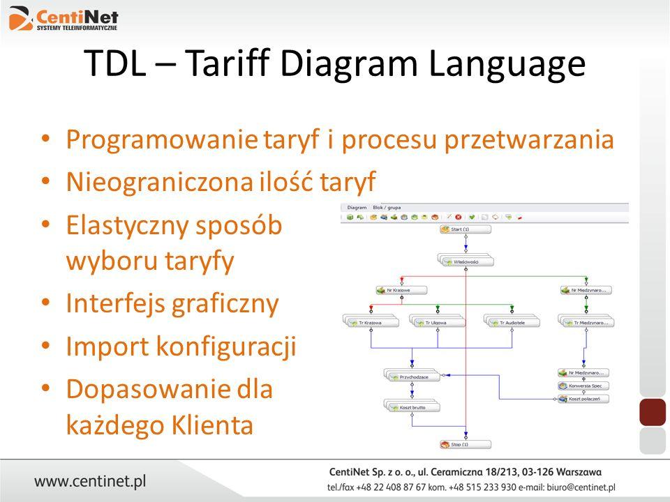 TDL – Tariff Diagram Language Programowanie taryf i procesu przetwarzania Nieograniczona ilość taryf Elastyczny sposób wyboru taryfy Interfejs graficz