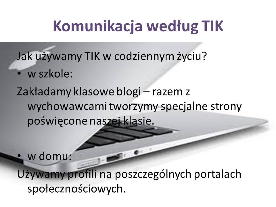 Komunikacja według TIK Jak używamy TIK w codziennym życiu.