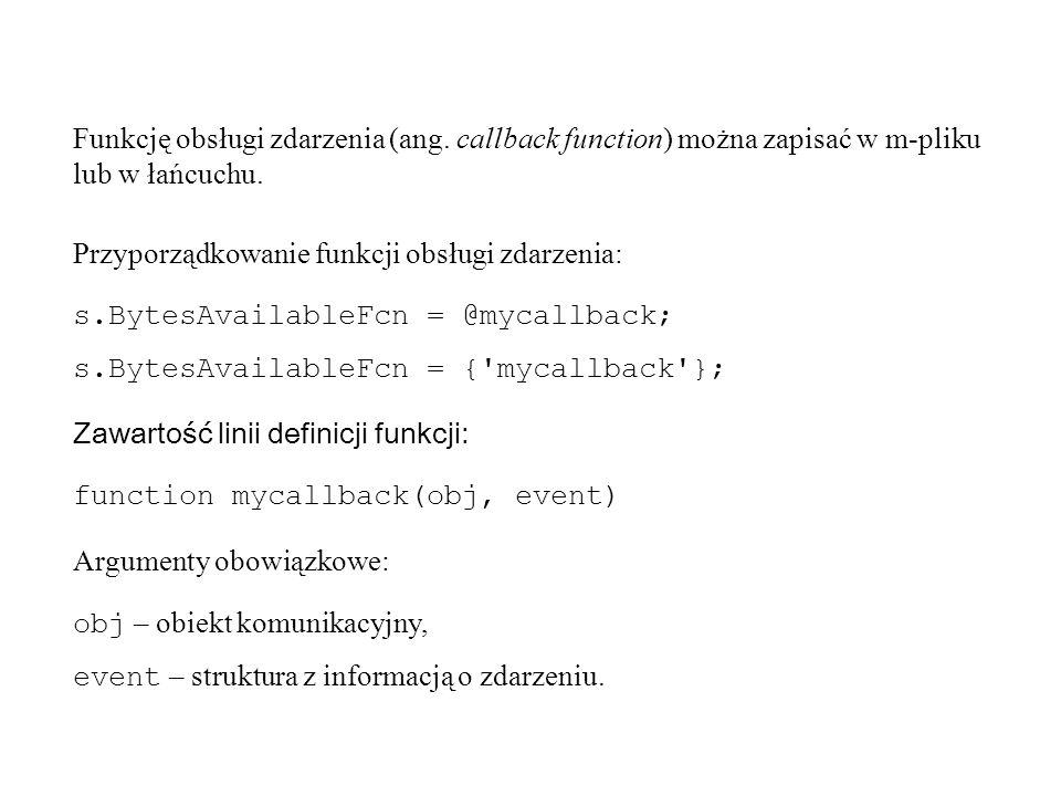 Funkcję obsługi zdarzenia (ang.callback function) można zapisać w m-pliku lub w łańcuchu.