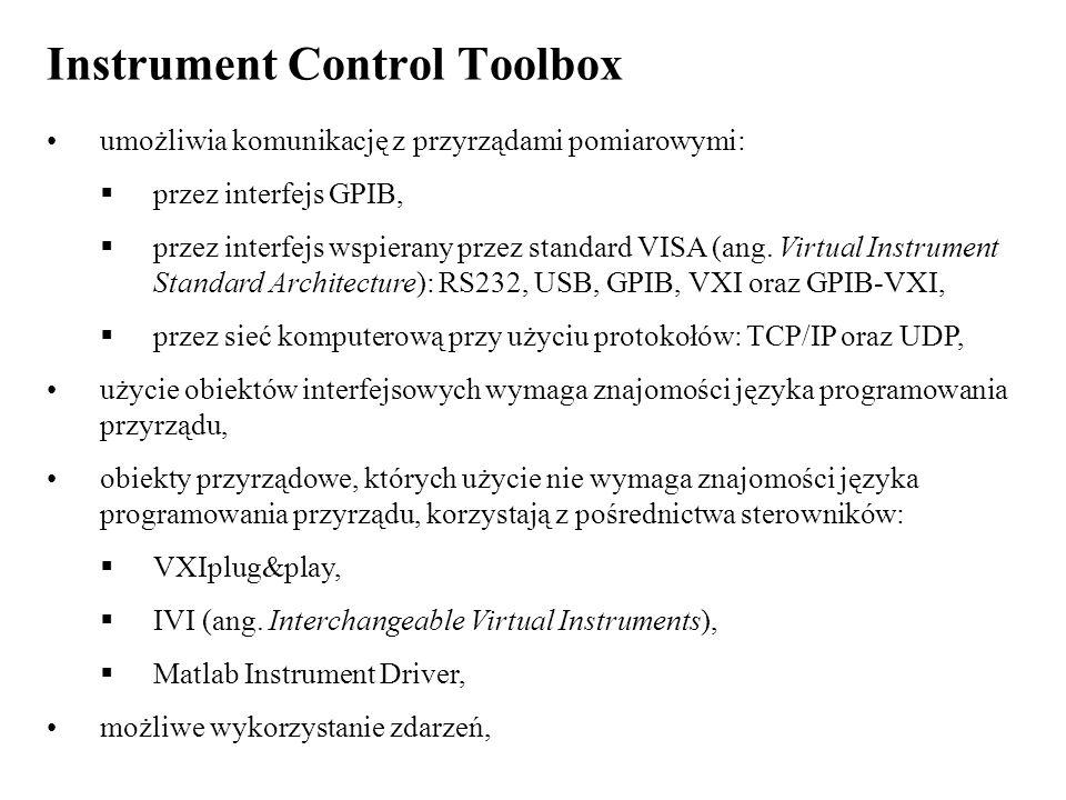 Instrument Control Toolbox umożliwia komunikację z przyrządami pomiarowymi: przez interfejs GPIB, przez interfejs wspierany przez standard VISA (ang.