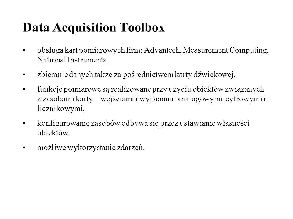 Data Acquisition Toolbox obsługa kart pomiarowych firm: Advantech, Measurement Computing, National Instruments, zbieranie danych także za pośrednictwem karty dźwiękowej, funkcje pomiarowe są realizowane przy użyciu obiektów związanych z zasobami karty – wejściami i wyjściami: analogowymi, cyfrowymi i licznikowymi, konfigurowanie zasobów odbywa się przez ustawianie własności obiektów.