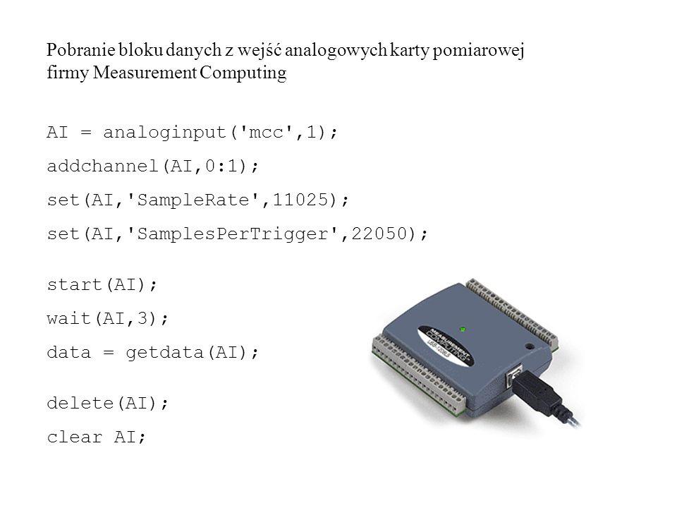 AI = analoginput( mcc ,1); addchannel(AI,0:1); set(AI, SampleRate ,11025); set(AI, SamplesPerTrigger ,22050); start(AI); wait(AI,3); data = getdata(AI); delete(AI); clear AI; Pobranie bloku danych z wejść analogowych karty pomiarowej firmy Measurement Computing