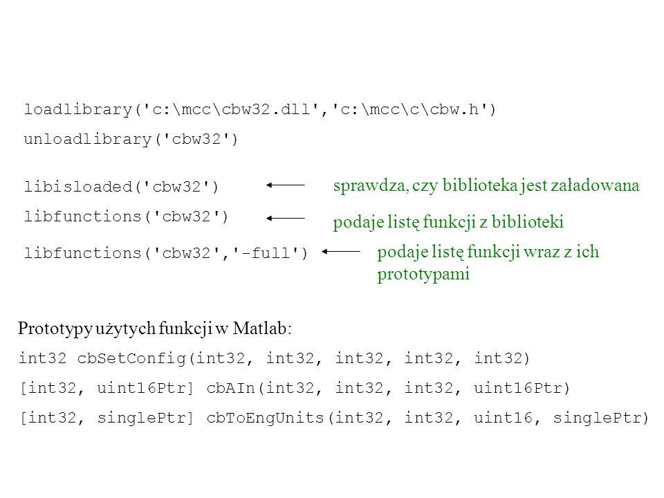 W dokumentacji biblioteki są podane prototypy funkcji dla języków: C/C++, Visual Basic i Delphi.