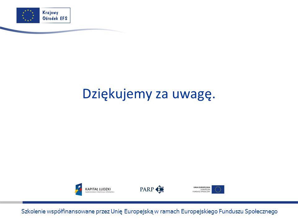 Szkolenie współfinansowane przez Unię Europejską w ramach Europejskiego Funduszu Społecznego Dziękujemy za uwagę.