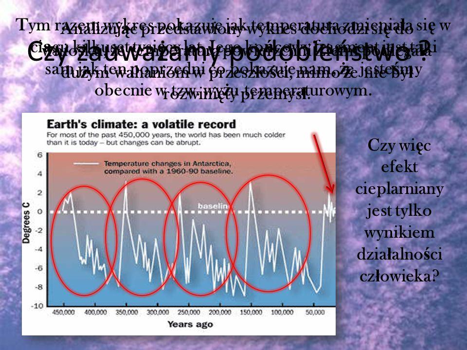 Tym razem wykres pokazuje jak temperatura zmienia ł a si ę w ci ą gu kilkuset tysi ę cy lat. Jego ko ń cowy fragment jest taki sam jak ten poprzedni c