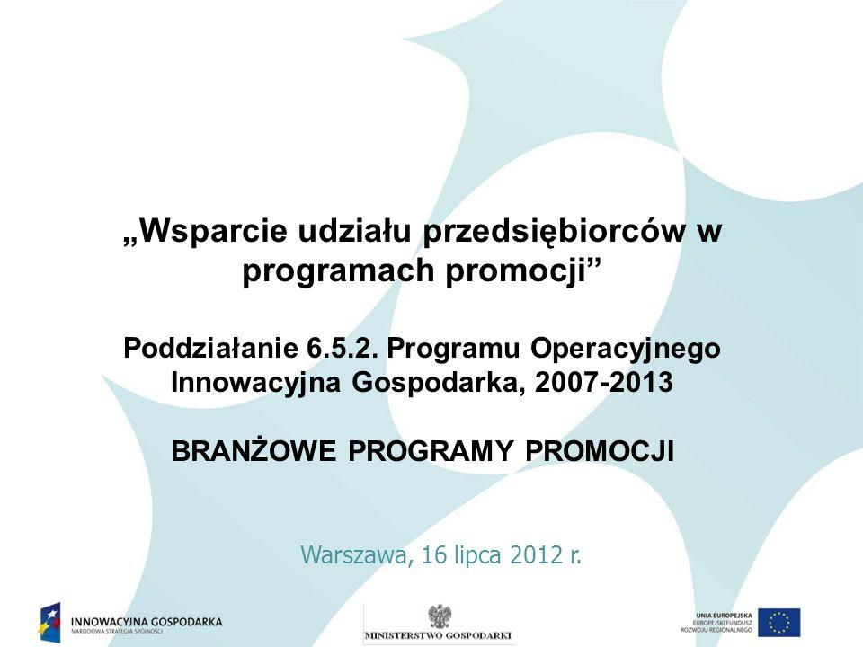 Wsparcie udziału przedsiębiorców w programach promocji Poddziałanie 6.5.2. Programu Operacyjnego Innowacyjna Gospodarka, 2007-2013 BRANŻOWE PROGRAMY P