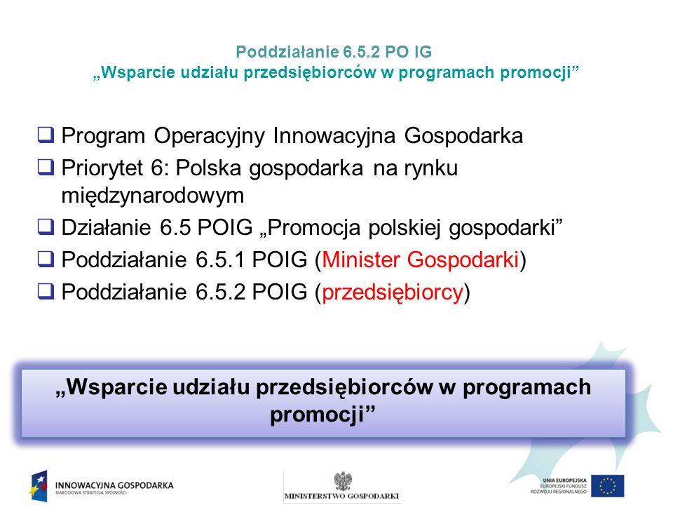 Program Operacyjny Innowacyjna Gospodarka Priorytet 6: Polska gospodarka na rynku międzynarodowym Działanie 6.5 POIG Promocja polskiej gospodarki Poddziałanie 6.5.1 POIG (Minister Gospodarki) Poddziałanie 6.5.2 POIG (przedsiębiorcy) Wsparcie udziału przedsiębiorców w programach promocji Poddziałanie 6.5.2 PO IG Wsparcie udziału przedsiębiorców w programach promocji