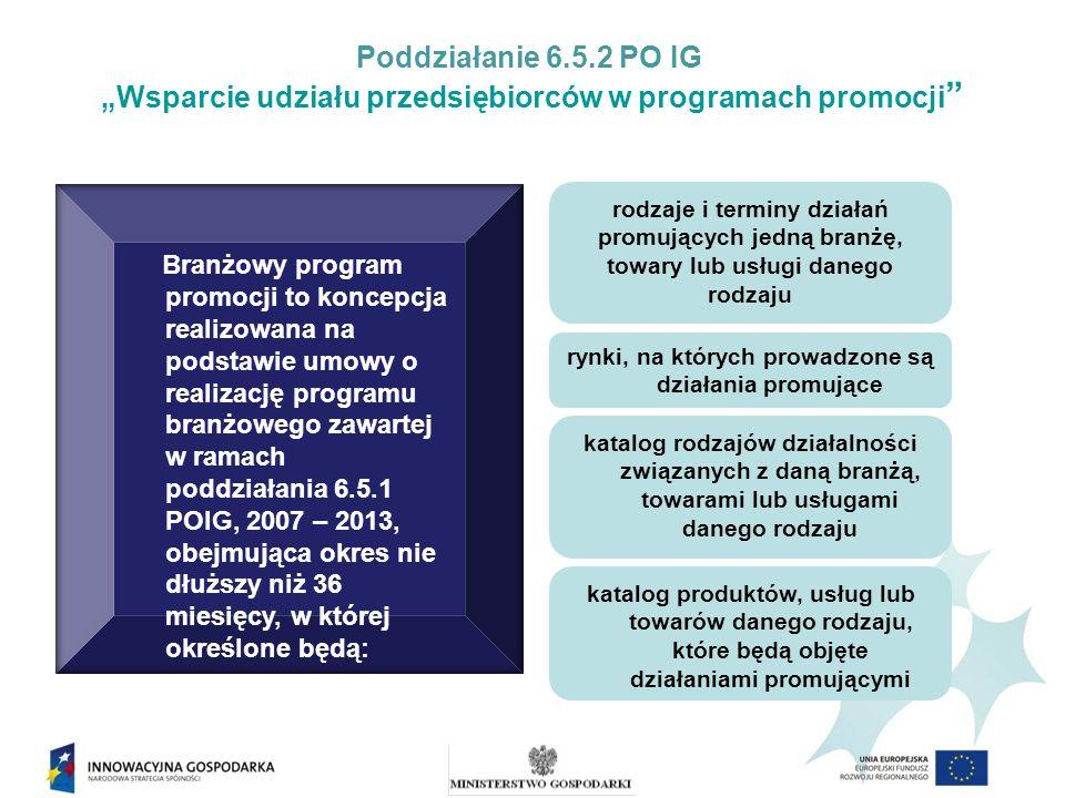Poddziałanie 6.5.2 PO IG Wsparcie udziału przedsiębiorców w programach promocji Branżowy program promocji to koncepcja realizowana na podstawie umowy o realizację programu branżowego zawartej w ramach poddziałania 6.5.1 POIG, 2007 – 2013, obejmująca okres nie dłuższy niż 36 miesięcy, w której określone będą: rodzaje i terminy działań promujących jedną branżę, towary lub usługi danego rodzaju rynki, na których prowadzone są działania promujące katalog rodzajów działalności związanych z daną branżą, towarami lub usługami danego rodzaju katalog produktów, usług lub towarów danego rodzaju, które będą objęte działaniami promującymi