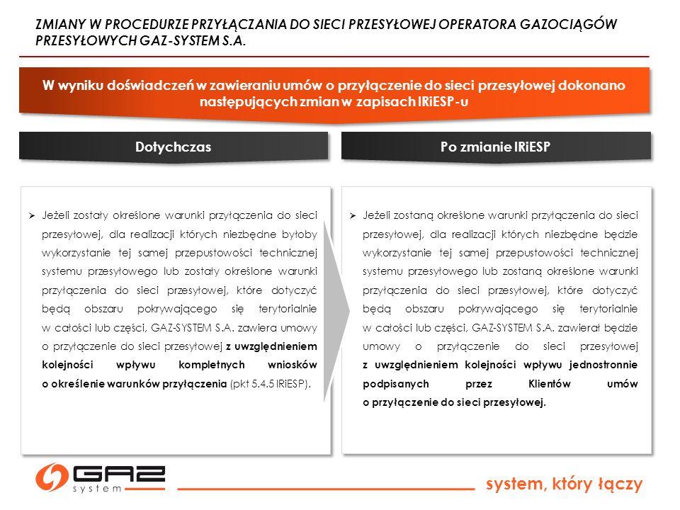 system, który łączy Jeżeli zostały określone warunki przyłączenia do sieci przesyłowej, dla realizacji których niezbędne byłoby wykorzystanie tej samej przepustowości technicznej systemu przesyłowego lub zostały określone warunki przyłączenia do sieci przesyłowej, które dotyczyć będą obszaru pokrywającego się terytorialnie w całości lub części, GAZ-SYSTEM S.A.