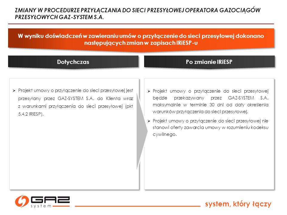 system, który łączy Projekt umowy o przyłączenie do sieci przesyłowej jest przesyłany przez GAZ-SYSTEM S.A. do Klienta wraz z warunkami przyłączenia d
