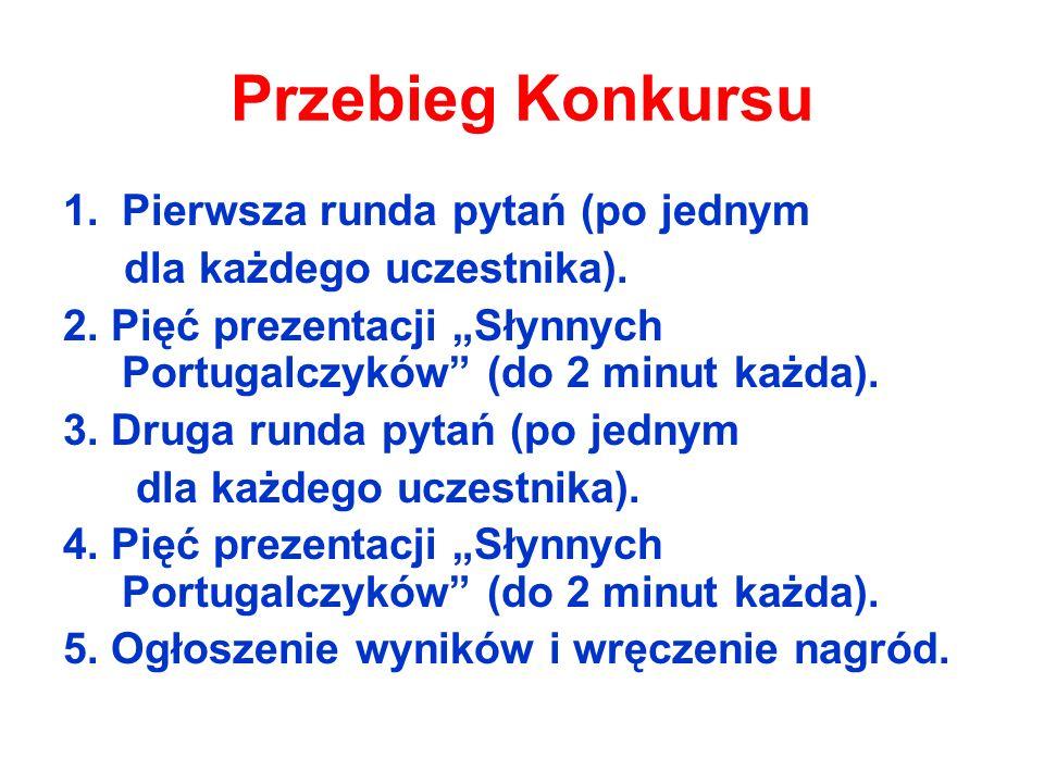 Przebieg Konkursu 1.Pierwsza runda pytań (po jednym dla każdego uczestnika). 2. Pięć prezentacji Słynnych Portugalczyków (do 2 minut każda). 3. Druga