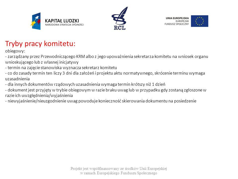 Tryby pracy komitetu: obiegowy: - zarządzany przez Przewodniczącego KRM albo z jego upoważnienia sekretarza komitetu na wniosek organu wnioskującego l