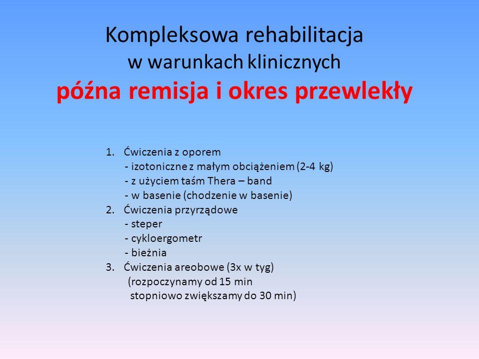 Kompleksowa rehabilitacja w warunkach klinicznych późna remisja i okres przewlekły 1.Ćwiczenia z oporem - izotoniczne z małym obciążeniem (2-4 kg) - z