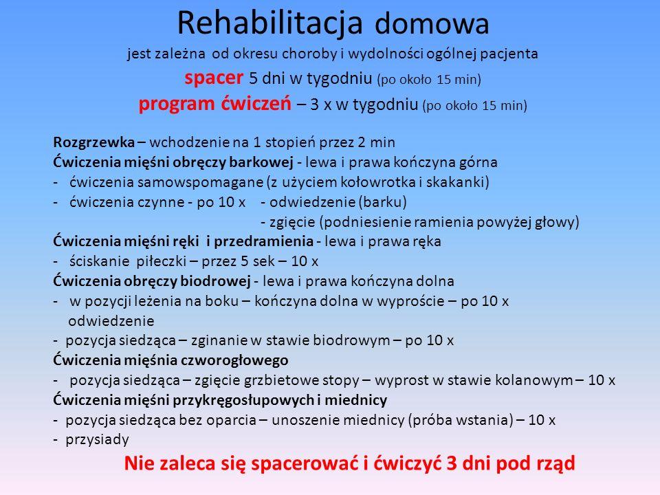 Rehabilitacja domowa jest zależna od okresu choroby i wydolności ogólnej pacjenta spacer 5 dni w tygodniu (po około 15 min) program ćwiczeń – 3 x w ty