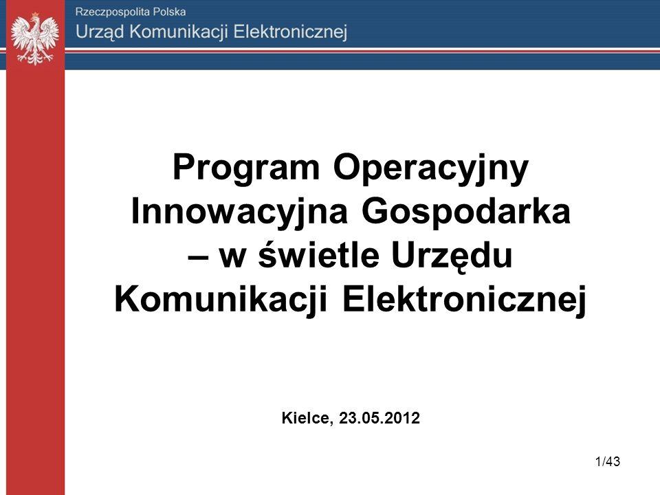 1/43 Program Operacyjny Innowacyjna Gospodarka – w świetle Urzędu Komunikacji Elektronicznej Kielce, 23.05.2012