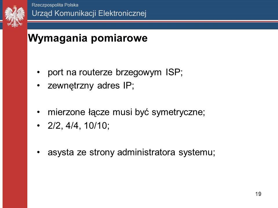 19 Wymagania pomiarowe port na routerze brzegowym ISP; zewnętrzny adres IP; mierzone łącze musi być symetryczne; 2/2, 4/4, 10/10; asysta ze strony adm