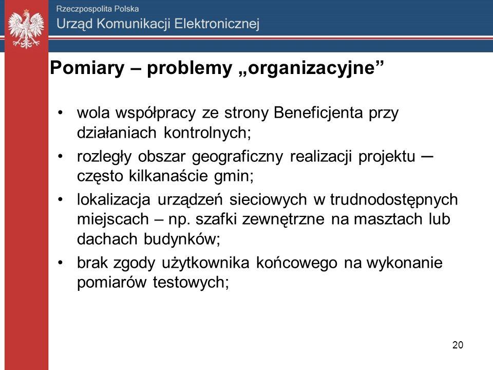20 Pomiary – problemy organizacyjne wola współpracy ze strony Beneficjenta przy działaniach kontrolnych; rozległy obszar geograficzny realizacji proje