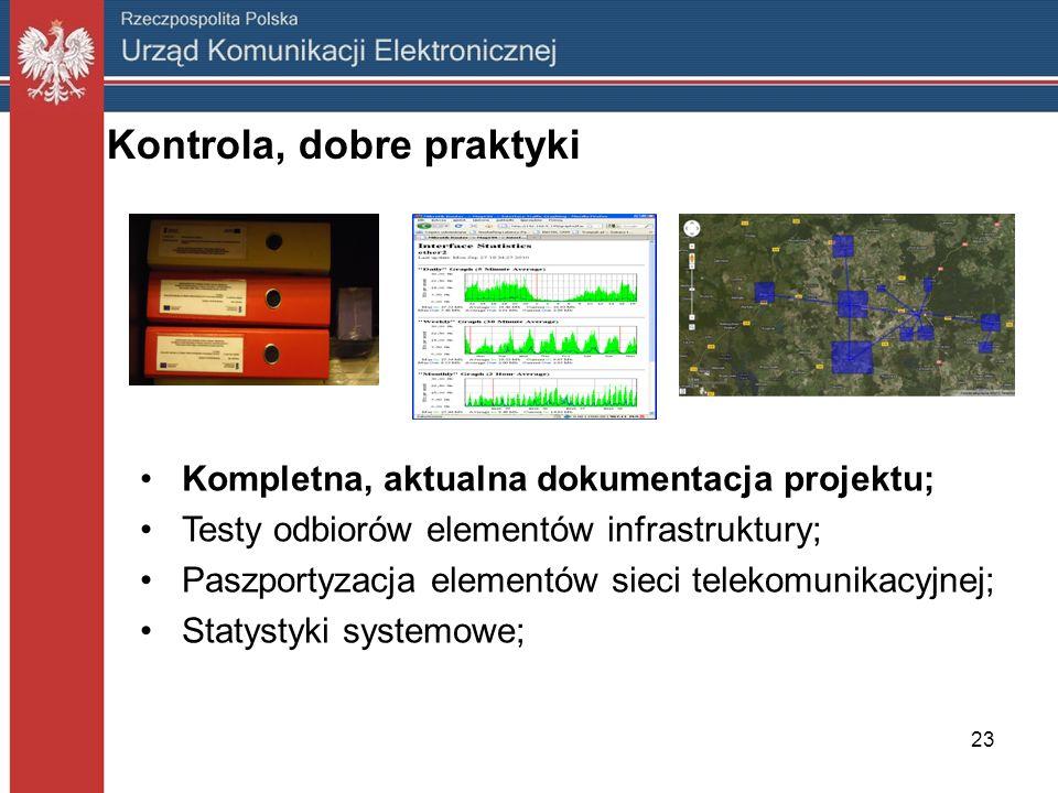 Kontrola, dobre praktyki Kompletna, aktualna dokumentacja projektu; Testy odbiorów elementów infrastruktury; Paszportyzacja elementów sieci telekomuni