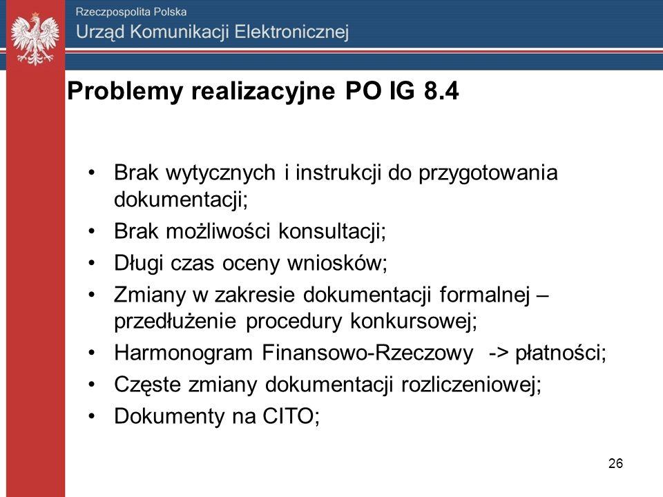 26 Problemy realizacyjne PO IG 8.4 Brak wytycznych i instrukcji do przygotowania dokumentacji; Brak możliwości konsultacji; Długi czas oceny wniosków;