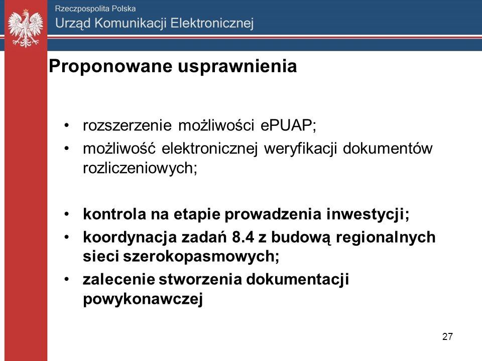 27 Proponowane usprawnienia rozszerzenie możliwości ePUAP; możliwość elektronicznej weryfikacji dokumentów rozliczeniowych; kontrola na etapie prowadz