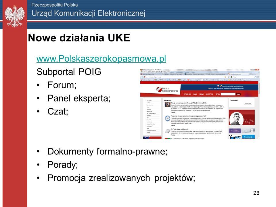 28 Nowe działania UKE www.Polskaszerokopasmowa.pl Subportal POIG Forum; Panel eksperta; Czat; Dokumenty formalno-prawne; Porady; Promocja zrealizowany