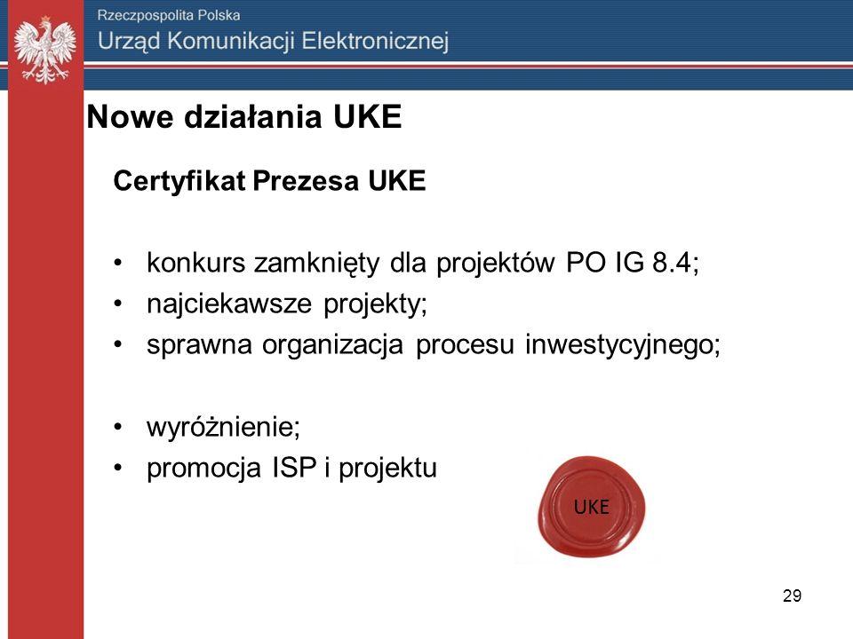 29 Nowe działania UKE Certyfikat Prezesa UKE konkurs zamknięty dla projektów PO IG 8.4; najciekawsze projekty; sprawna organizacja procesu inwestycyjn