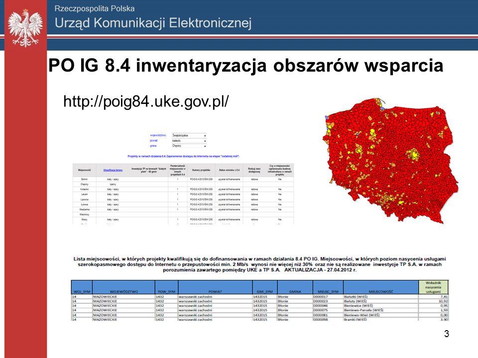 PO IG 8.4 inwentaryzacja obszarów wsparcia http://poig84.uke.gov.pl/ 3