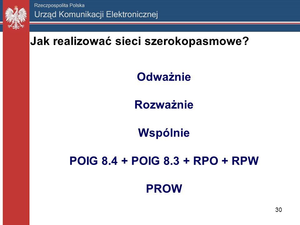 30 Jak realizować sieci szerokopasmowe? Odważnie Rozważnie Wspólnie POIG 8.4 + POIG 8.3 + RPO + RPW PROW