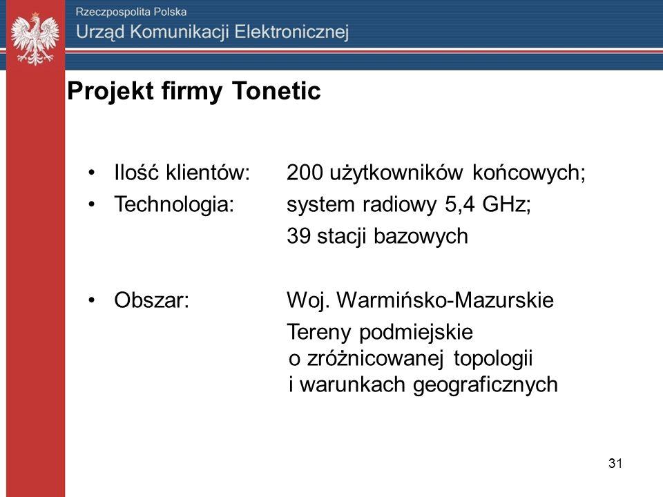 31 Projekt firmy Tonetic Ilość klientów:200 użytkowników końcowych; Technologia:system radiowy 5,4 GHz; 39 stacji bazowych Obszar:Woj. Warmińsko-Mazur
