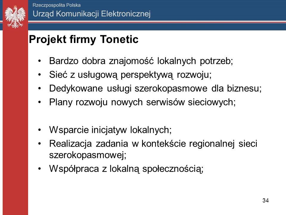 34 Projekt firmy Tonetic Bardzo dobra znajomość lokalnych potrzeb; Sieć z usługową perspektywą rozwoju; Dedykowane usługi szerokopasmowe dla biznesu;