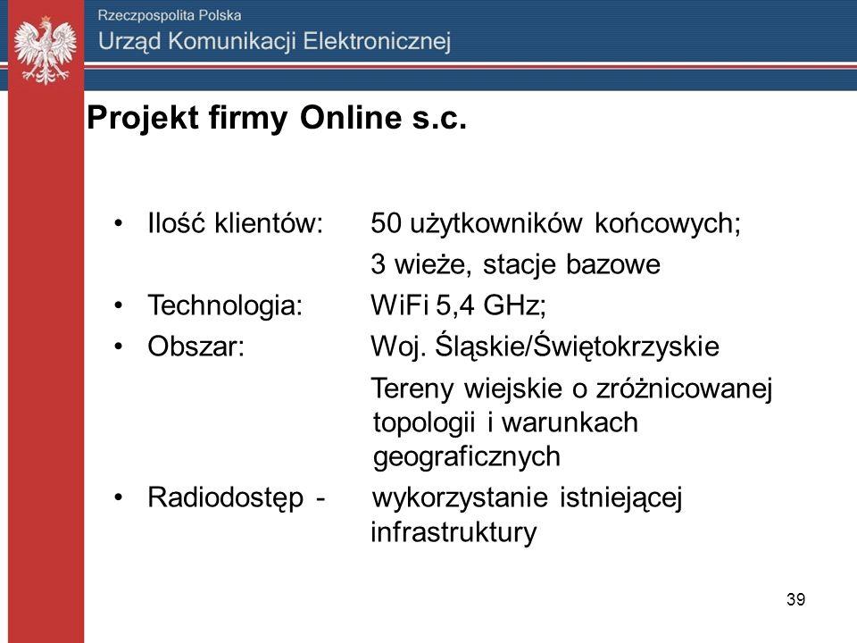 39 Projekt firmy Online s.c. Ilość klientów:50 użytkowników końcowych; 3 wieże, stacje bazowe Technologia:WiFi 5,4 GHz; Obszar:Woj. Śląskie/Świętokrzy