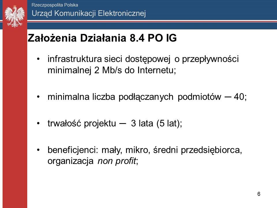 Założenia Działania 8.4 PO IG infrastruktura sieci dostępowej o przepływności minimalnej 2 Mb/s do Internetu; minimalna liczba podłączanych podmiotów