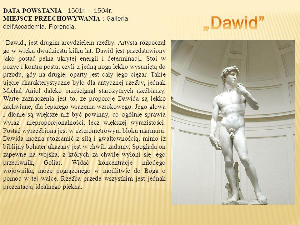 DATA POWSTANIA : 1501r.– 1504r. MIEJSCE PRZECHOWYWANIA : Galleria dell Accademia, Florencja.