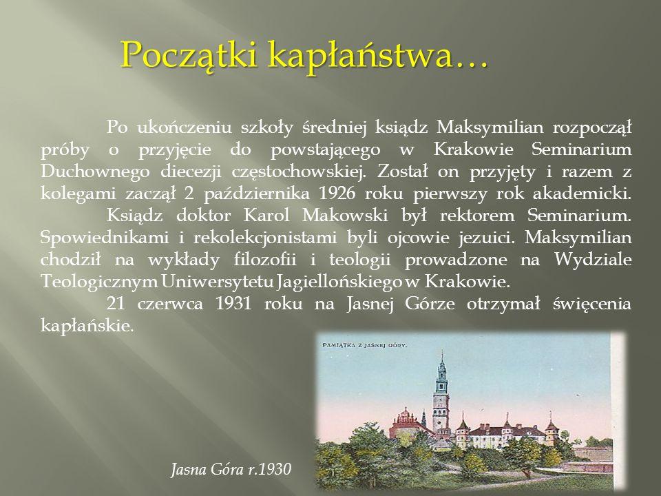Po przyjęciu święceń kapłańskich został mianowany prefektem w Seminarium Duchownym diecezji częstochowskiej w Krakowie.