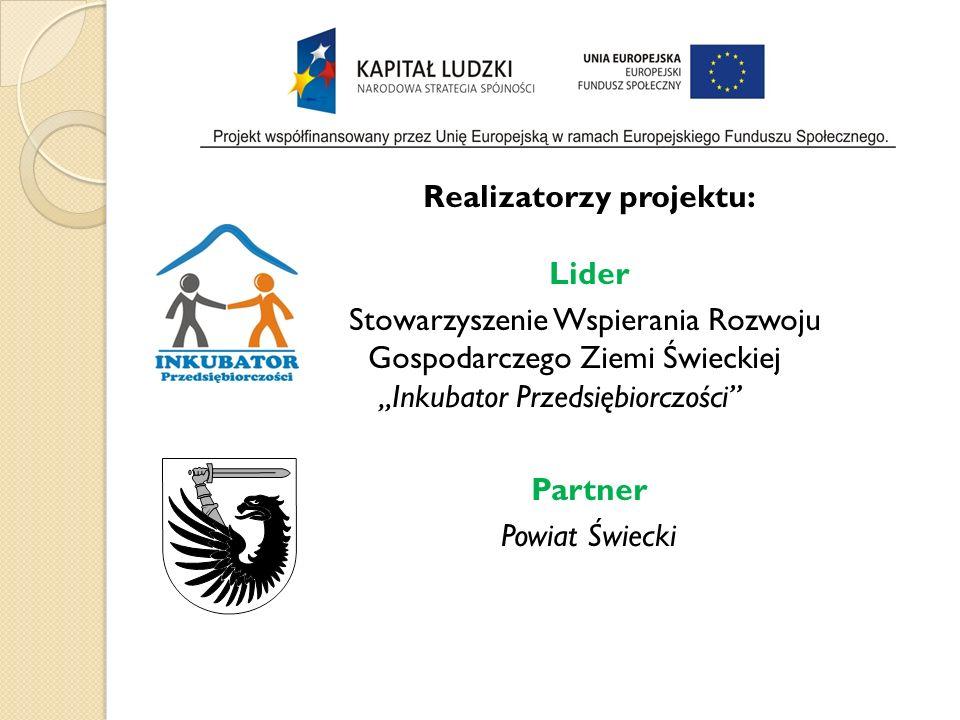 Realizatorzy projektu: Lider Stowarzyszenie Wspierania Rozwoju Gospodarczego Ziemi Świeckiej Inkubator Przedsiębiorczości Partner Powiat Świecki