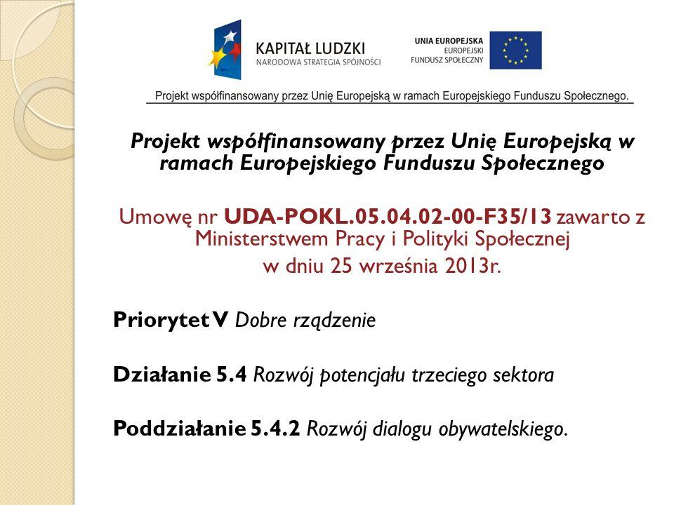 Projekt współfinansowany przez Unię Europejską w ramach Europejskiego Funduszu Społecznego Umowę nr UDA-POKL.05.04.02-00-F35/13 zawarto z Ministerstwem Pracy i Polityki Społecznej w dniu 25 września 2013r.