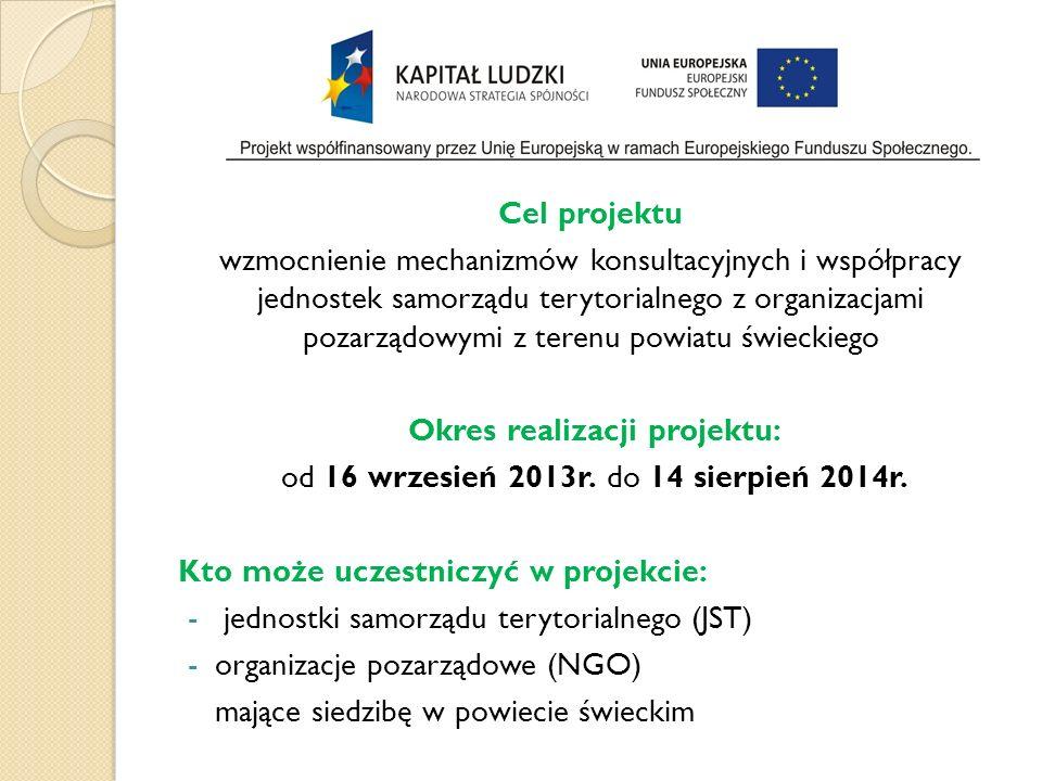 Cel projektu wzmocnienie mechanizmów konsultacyjnych i współpracy jednostek samorządu terytorialnego z organizacjami pozarządowymi z terenu powiatu świeckiego Okres realizacji projektu: od 16 wrzesień 2013r.