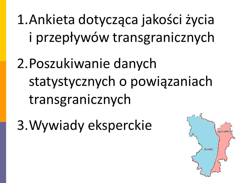 1.Ankieta dotycząca jakości życia i przepływów transgranicznych 2.Poszukiwanie danych statystycznych o powiązaniach transgranicznych 3.Wywiady eksperckie
