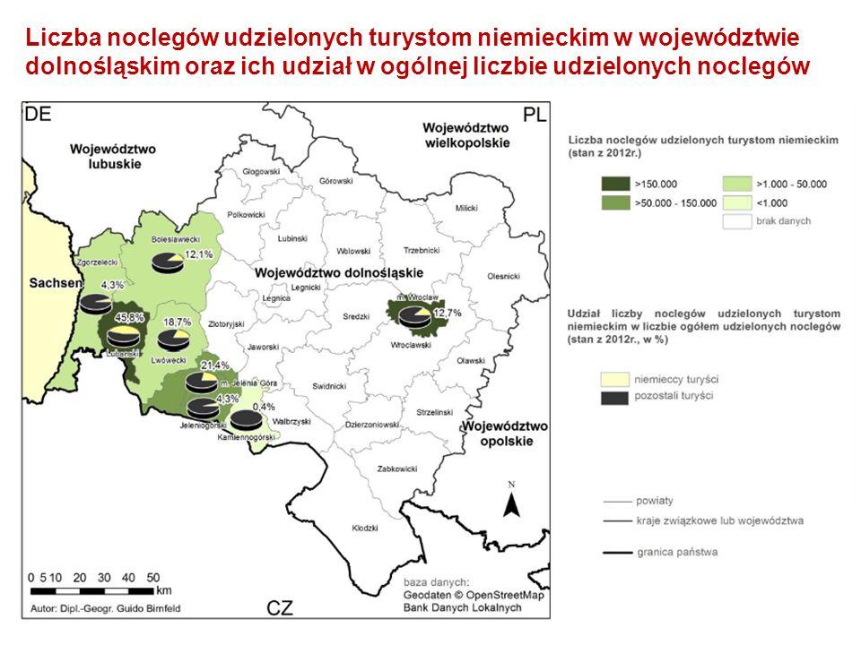 Liczba noclegów udzielonych turystom niemieckim w województwie dolnośląskim oraz ich udział w ogólnej liczbie udzielonych noclegów